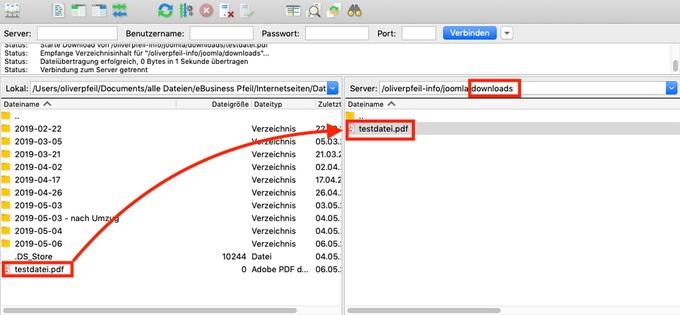 Per FTP kannst du eine Joomla PDF hochladen und anschließend auf deiner Website einbinden.