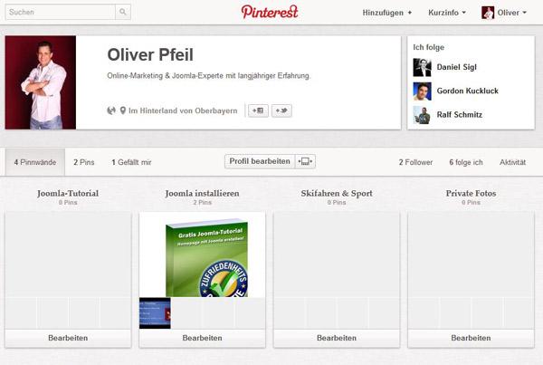 Screenshot - Pinterest Profil