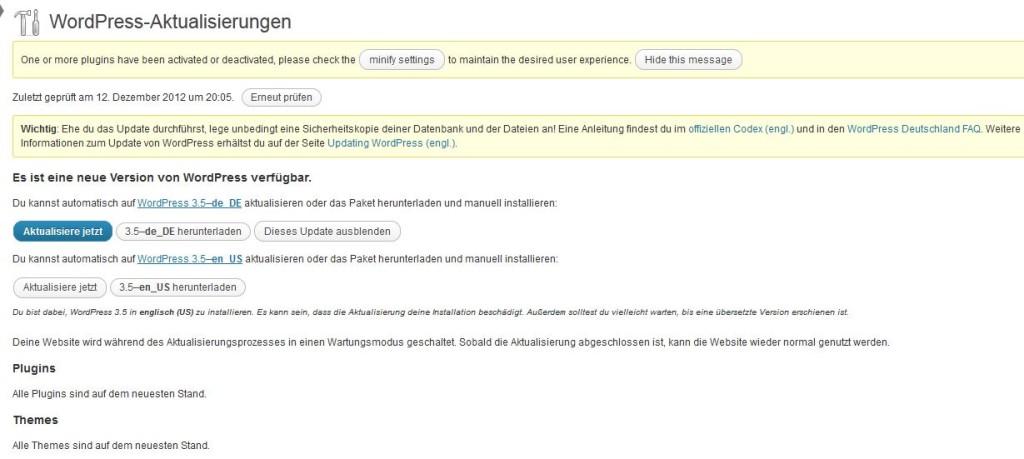 Wordpress 3.5 über Administratorbereich aktualisieren