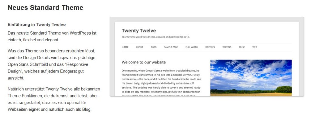 Theme Twenty Twelve - responsive Theme