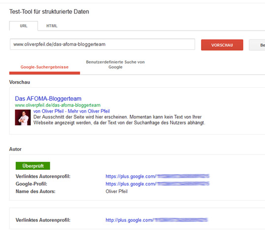 Google Author Rank testen