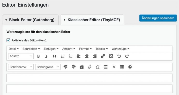 WordPress Editor ändern