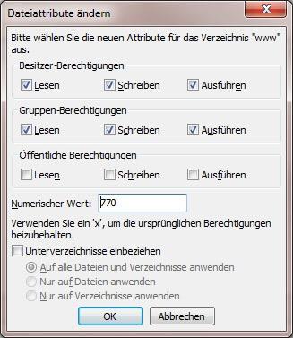 Joomla Datei-Rechte (CHMOD) - configuration.php