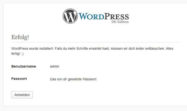 Erfolgsmeldung nach der Installation von WordPress