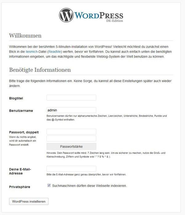 WordPress installieren - die Installationsroutine