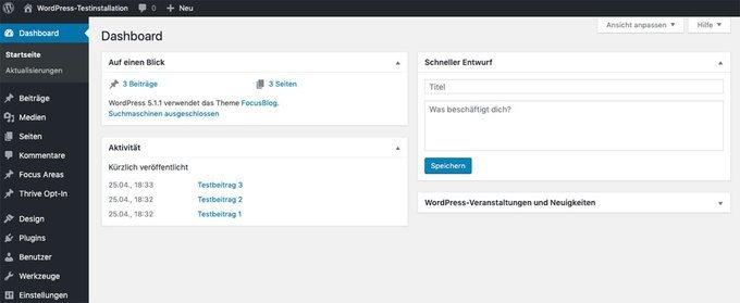 WordPress installieren: Das Dashboard ist deine Kommandozentrale