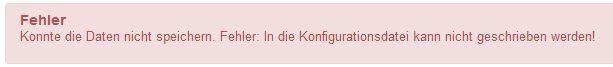 Joomla configuration.php kann nicht beschrieben werden: Konnte die Datei nicht speichern. Fehler: In die Konfigurationsdatei kann nicht geschrieben werden!
