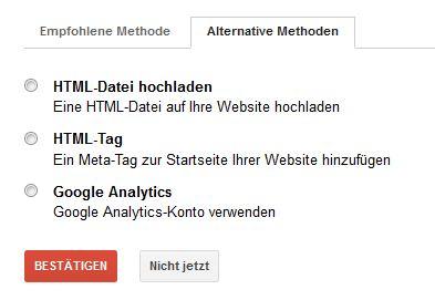 Bestätigung der Domain - Google Webmastertools