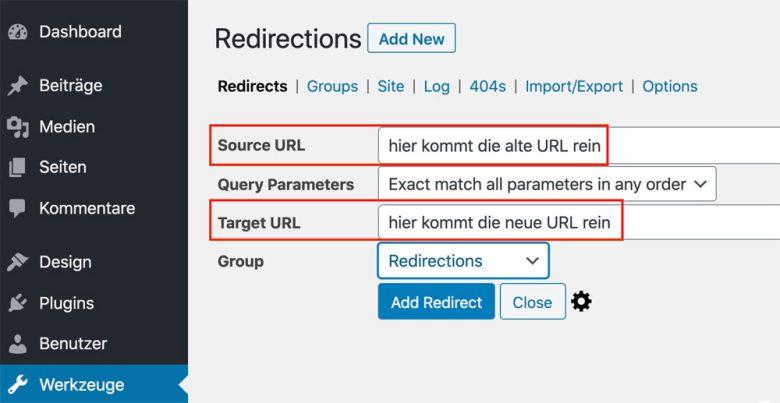 Mit dem WordPress Plugin Redirection kannst du Weiterleitungen erstellen.