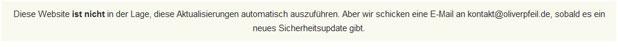 Diese Meldung wird angezeigt, wenn automatische Updates nicht möglich sin.