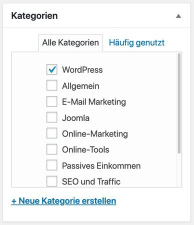 WordPress Kategorie zuordnen