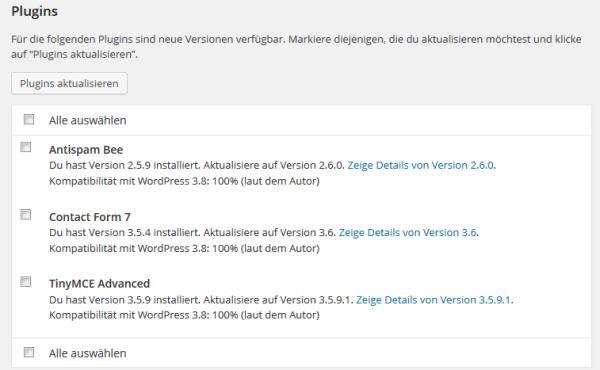 Nach einem WordPress Update gibt es meist auch einige Plugin-Updates.