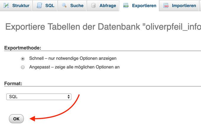 WordPress Backup - Datenbank sichern