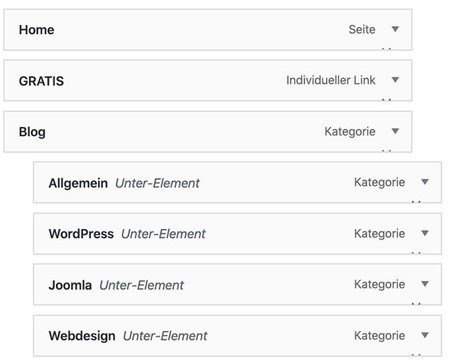WordPress Dropdown Menü