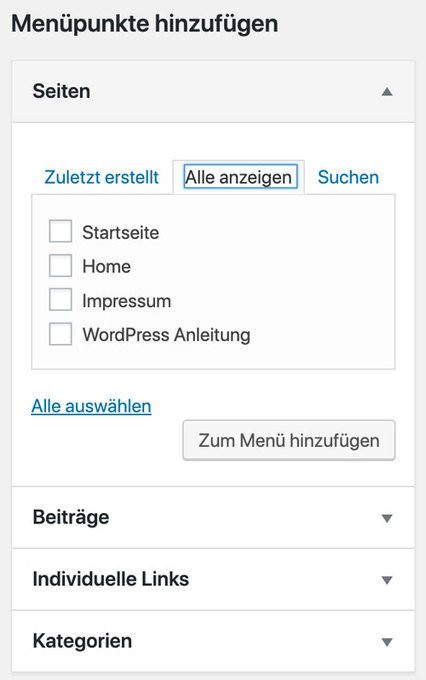 WordPress Menüpunkte hinzufügen