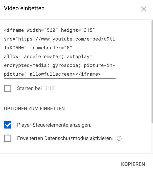 YouTube Einbettungscode kopieren