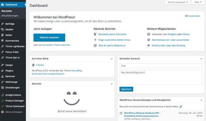 WordPress Einführung - das Dashboard