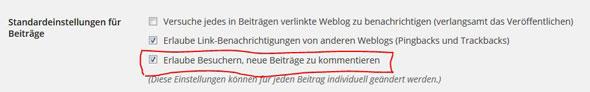 WordPress Kommentarfunktion aktivieren/deaktivieren