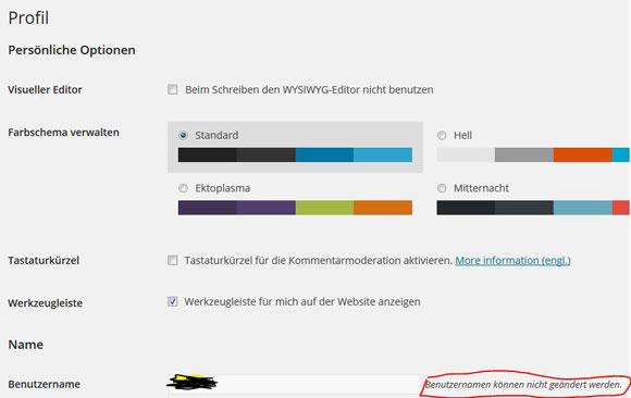 WP-Benutzername Admin ändern