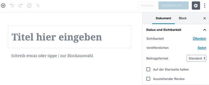 WordPress Artikel erstellen (Ansicht: Gutenberg Editor)