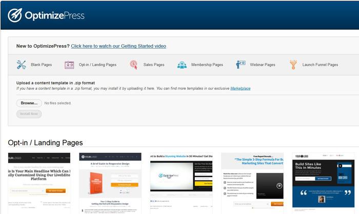 Mit Optimizepress stehen dir viele Vorlagen für neue WordPress-Seiten zur Verfügung.