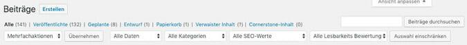Hier kannst du die Sortierung deiner WordPress Beiträge und Seiten anpassen.