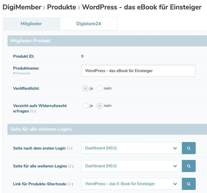 WordPress: Digimember Produkt anlegen