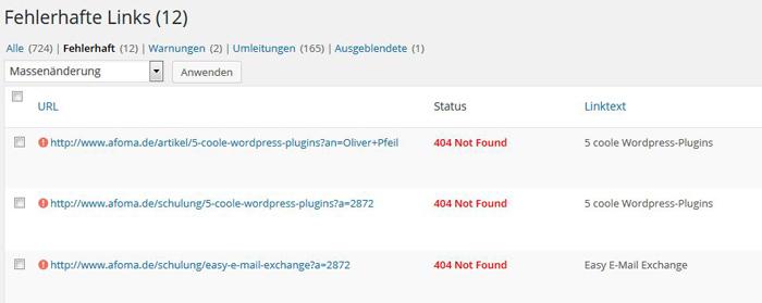 WordPress: kaputte und fehlerhafte Links erkennen