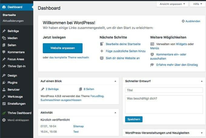 Was ist WordPress? Erklärung des Dashboards