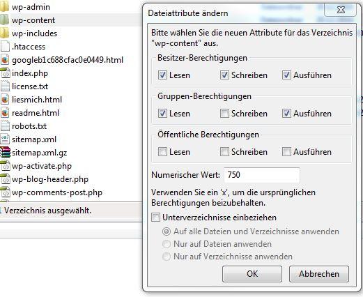 WordPress: das Verzeichnis wp-content erstellen