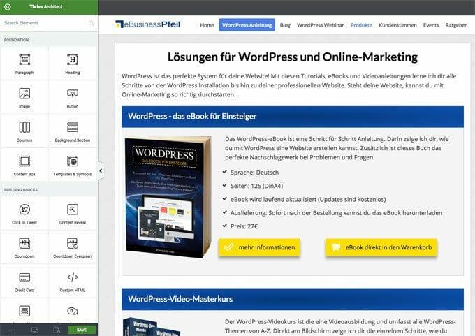 Thrive Themes bietet mit dem Architect einen genialen Content Builder für WordPress an.