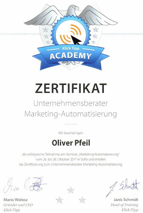 Zertifikat: Oliver Pfeil ist zertifizierter Unternehmensberater für Marketing-Automatisierung.