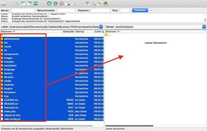 Joomla installieren: Installationsdateien hochladen