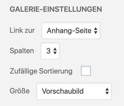 WordPress Gallery erstellen (Einstellungen)
