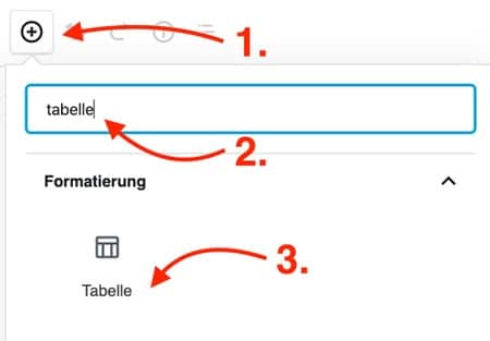 WordPress Tabelle erstellen