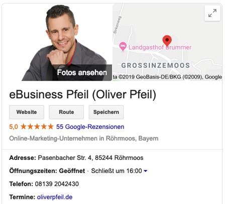 Google My Business Profil von eBusiness Pfeil