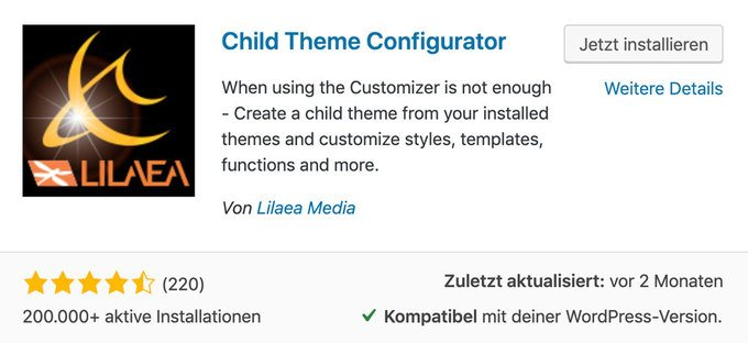 WordPress Child Theme Plugin