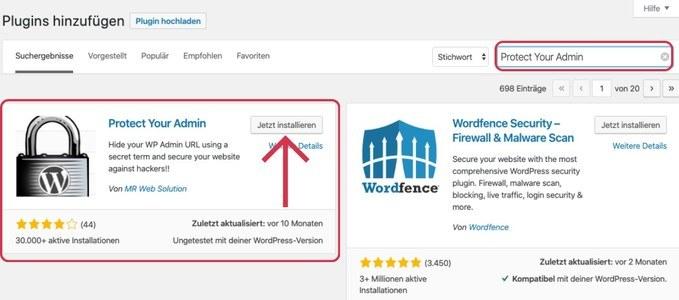 WordPress Plugin - Protect your Admin