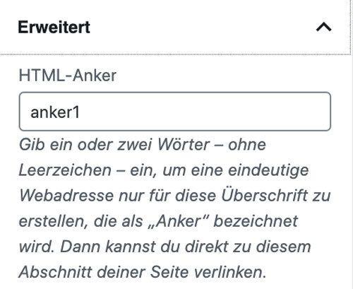 WordPress Anker Link mit Gutenberg Editor setzen