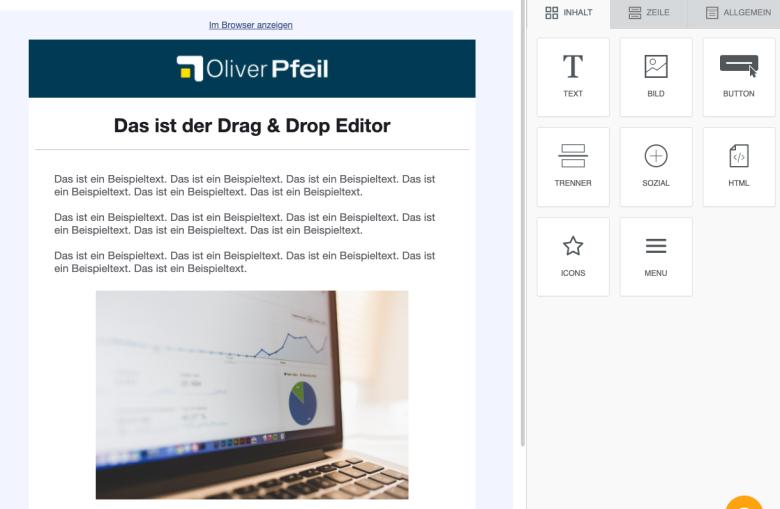 Drag & Drop E-Mail Editor von Klick-Tipp