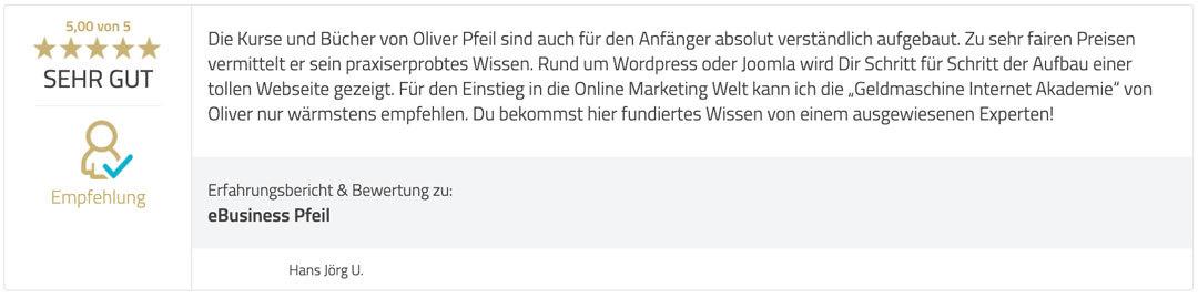 Kundenrezension (Provenexpert) Hans Jörg