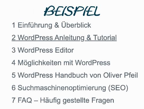 WordPress Inhaltsverzeichnis erstellen