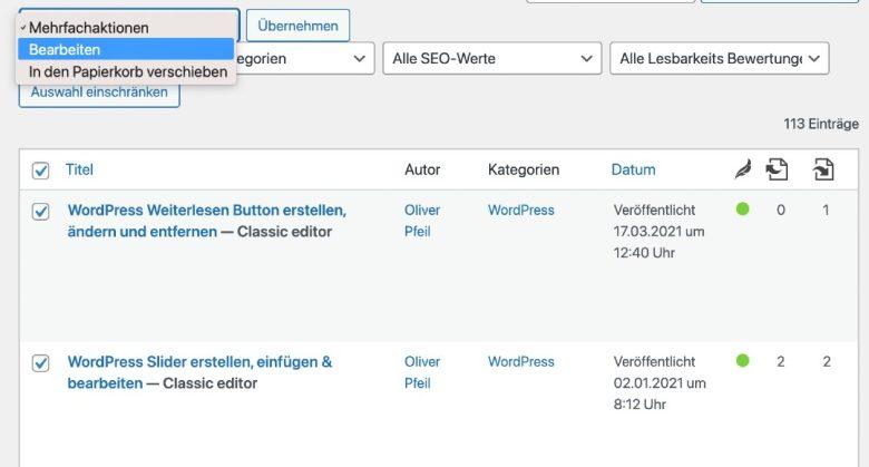 WordPress Kommentarfunktion ausschalten